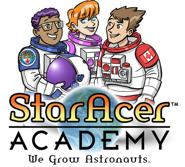 StarAcer Academy Logo - We Grow Astronauts!  COMICS for kids,  MISSIONS for classrooms,  and SCIENCE for all